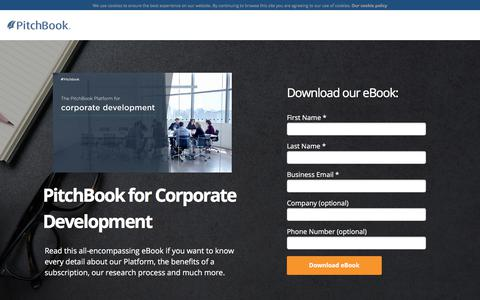 Screenshot of Landing Page pitchbook.com - PitchBook for Corporate Development - captured Sept. 22, 2017