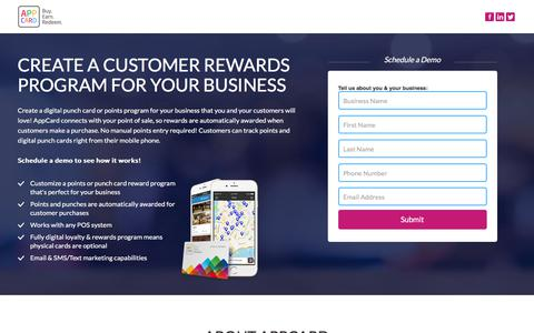 Screenshot of Landing Page appcard.com - Create a Customer Rewards Program for Your Business - captured Sept. 13, 2017