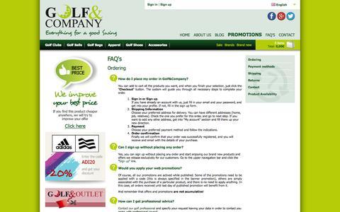 Screenshot of FAQ Page golfandcompany.com - FAQ's - ONLINE GOLF SHOP - Golf&Company - captured Oct. 2, 2014