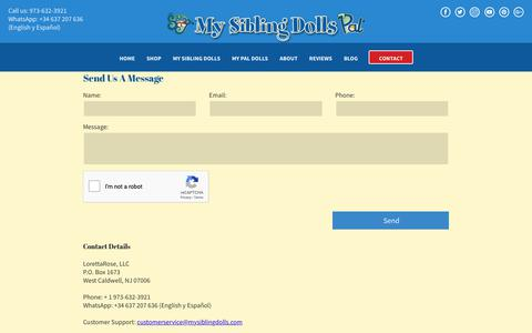 Screenshot of Contact Page mysiblingdolls.com - Contact LorettRose LLC about doll purchases or feedback about your experience - captured Sept. 30, 2018