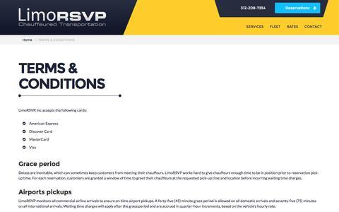 Screenshot of Terms Page limorsvp.com - Terms and Conditions | LimoRSVP, Inc. - captured Aug. 30, 2016