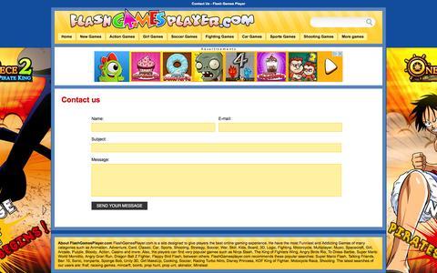 Screenshot of Contact Page flashgamesplayer.com - Contact Us -  Flash Games Player - captured Nov. 25, 2015
