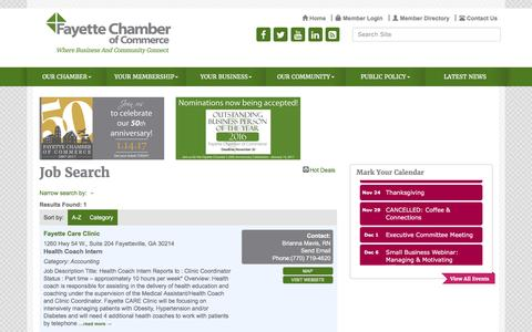 Screenshot of Jobs Page fayettechamber.org - Job Search - Fayette Chamber of Commerce , GA - captured Nov. 25, 2016
