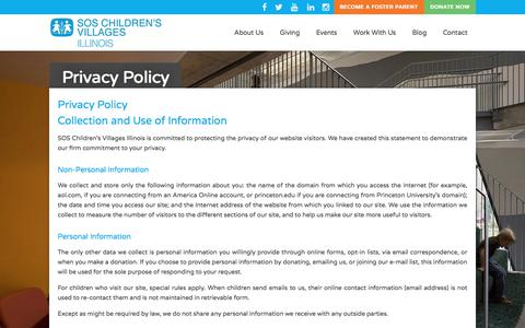 Screenshot of Privacy Page sosillinois.org - Privacy Policy – SOS Children's Villages Illinois - captured Sept. 30, 2017