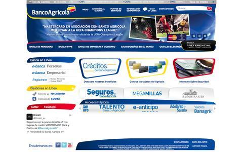 Screenshot of Home Page bancoagricola.com - Inicio Banco Agricola - captured Sept. 22, 2014