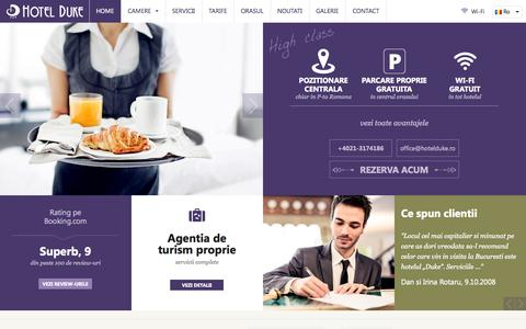 Screenshot of Home Page hotelduke.ro captured Sept. 30, 2014
