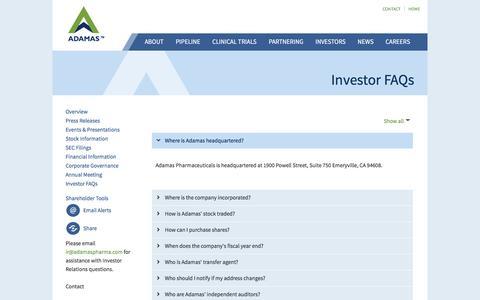 Screenshot of FAQ Page adamaspharma.com - Investor FAQs - Adamas Pharmaceuticals, Inc. - captured Nov. 20, 2016