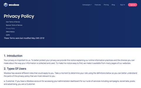 Screenshot of Privacy Page woobox.com - Woobox Privacy Policy - captured Oct. 30, 2019