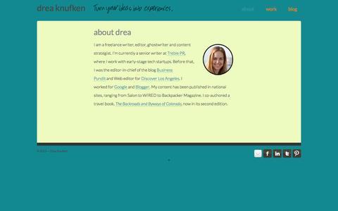Screenshot of About Page dreaknufken.com - About | Drea Knufken - captured Oct. 5, 2014