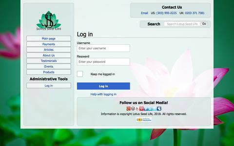 Screenshot of Login Page lotusseedlife.com - Log in - Lotus Seed Life - captured July 23, 2018