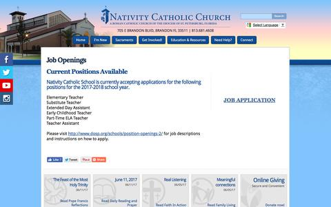 Screenshot of Jobs Page nativitycatholicchurch.org - Nativity Catholic Church: Job Openings - captured June 11, 2017