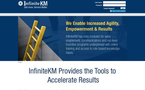 Screenshot of Login Page infinitekm.com - Channel Sales | Contact Centers | Sales Enablement | Proposal Generation | Analytics | Knowledge Base | Communication Tools - captured May 4, 2017