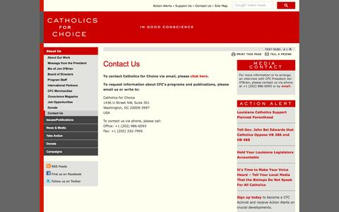 Screenshot of Contact Page catholicsforchoice.com - Catholics for Choice - Contact Us - captured June 17, 2016