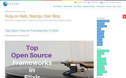 Screenshot of Blog icicletech.com - Best Articles on Ruby on Rails, JavaScript, Elixir, React Native, Angularjs - captured Oct. 22, 2018