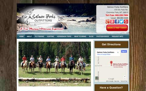 Screenshot of About Page salmonforks.com - About Montana Fly Fishing & Hunting Outfitters | Salmon Forks Outfitters - captured Oct. 4, 2014