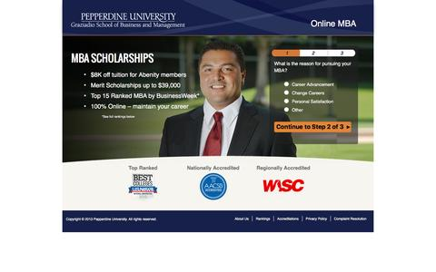Screenshot of Landing Page pepperdine.edu - | Online MBA | Pepperdine - captured Aug. 13, 2016