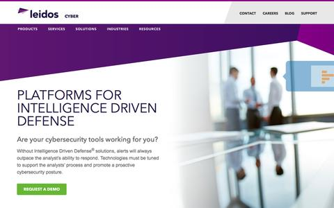 Screenshot of Products Page leidos.com - Cybersecurity Platforms | Leidos Cybersecurity - captured Feb. 20, 2017