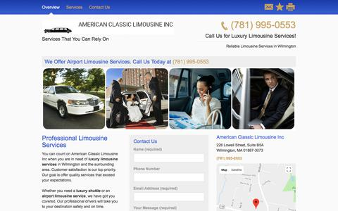 Screenshot of Home Page amerclasslimoma.com - Limousine and Sedan Services - American Classic Limousine Inc - Wilmington - MA - captured July 9, 2018