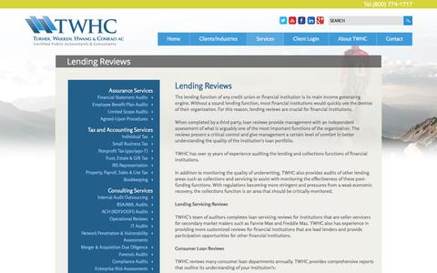 Screenshot of Services Page twhc.com - Lending Reviews - captured June 19, 2017