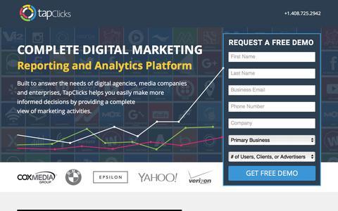 Screenshot of Landing Page tapclicks.com - TapClicks Reporting and Analytics Software - captured Oct. 4, 2016