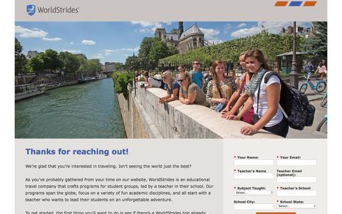 Screenshot of Landing Page educationaltravel.com captured Oct. 14, 2016