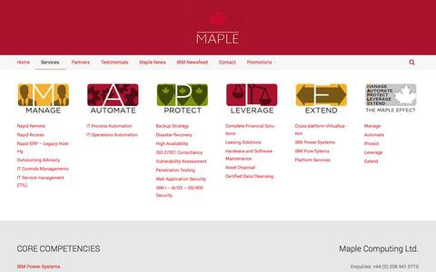 Screenshot of Services Page maplecom.co.uk - Services | Maplecom - captured Oct. 27, 2014