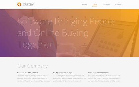 Screenshot of About Page quixby.com - About | Quixby - captured Sept. 10, 2014