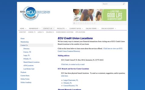 Screenshot of Contact Page Locations Page ecucreditunion.com - Contact Us - captured Oct. 23, 2014