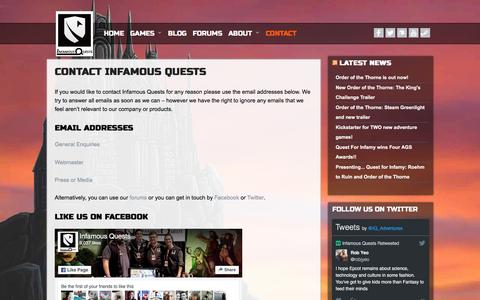 Screenshot of Contact Page infamous-quests.com - Contact Infamous Quests | Home of Quest for Infamy - captured Nov. 26, 2016