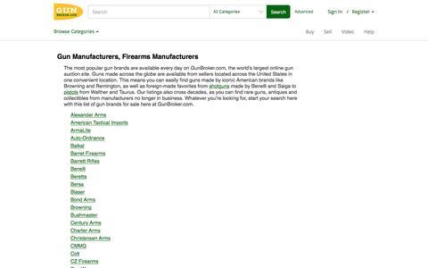 Gun Manufacturers, Firearms Manufacturers at GunBroker.com
