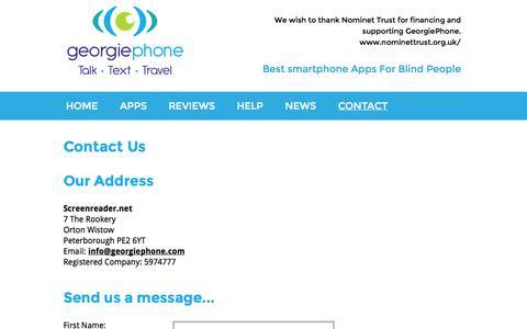 Screenshot of Contact Page georgiephone.com - email GeorgiePhone - captured Oct. 28, 2014