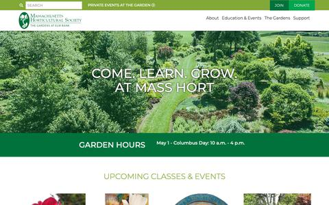 Screenshot of Home Page masshort.org - Massachusetts Horticultural Society | Massachusetts Horticultural Society - captured Oct. 1, 2018