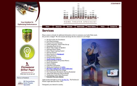Screenshot of Services Page dc-connections.com - mount tv surround sound program universal remotes MP3 integration home theater stealth speakers background music - captured Oct. 5, 2014