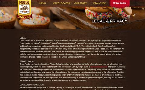Screenshot of Terms Page nestlecafe.com - Legal & Privacy - Nestlé® Toll House® Café By Chip - captured Sept. 30, 2018