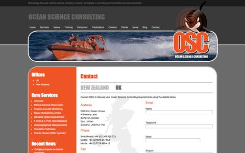 Screenshot of Contact Page osc.co.uk - Contact Ocean Science Consulting UK Office - captured Nov. 3, 2014