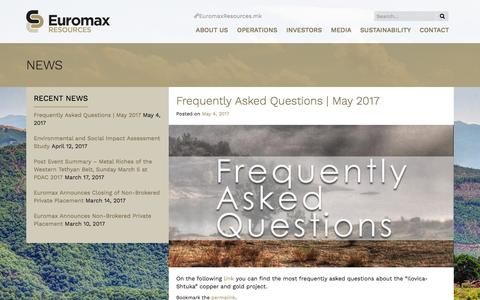 Screenshot of FAQ Page euromaxresources.com - Frequently Asked Questions | May 2017 | Euromax Resources - captured May 22, 2017