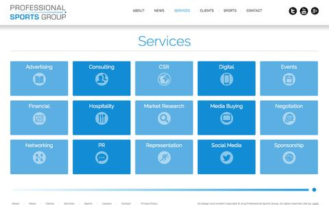 Screenshot of Services Page profsports.com - Professional Sports Group - Professional Sports Group - captured Nov. 2, 2014