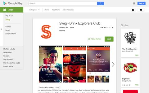 Screenshot of Android App Page google.com - Swig - Drink Explorers Club - Android Apps on Google Play - captured Nov. 9, 2015