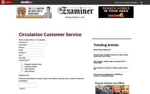 Screenshot of Support Page sfexaminer.com - San Francisco Examiner Circulation Requests - captured Oct. 2, 2018