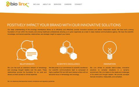 Screenshot of Home Page About Page Services Page biolinxpeople.com - BioLinx People - captured Oct. 5, 2014