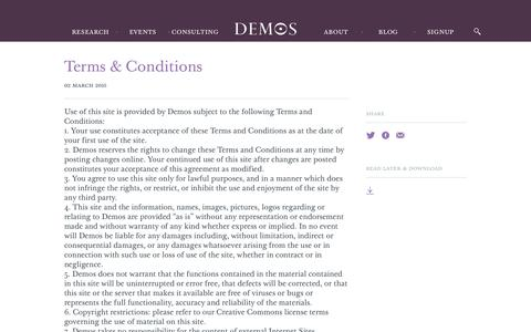 Screenshot of Terms Page demos.co.uk - Terms & Conditions - Demos - captured Aug. 6, 2018