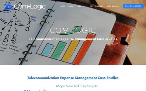 Screenshot of Case Studies Page com-logic.com - Case Studies — Com-Logic | Bringing IT and Finance Together | TEM | Telecom Expense Auditing and Management - captured Dec. 15, 2018