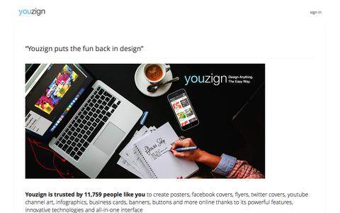 Screenshot of Home Page youzign.com - Youzign | You are the designer | Page Array - captured May 23, 2016