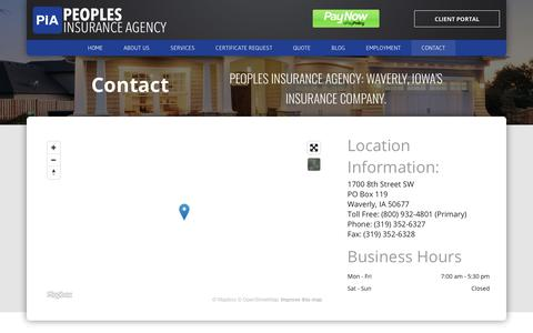 Screenshot of Contact Page peoples-insurance.com - Peoples Insurance Agency   Iowa Insurance Company - captured Sept. 27, 2018