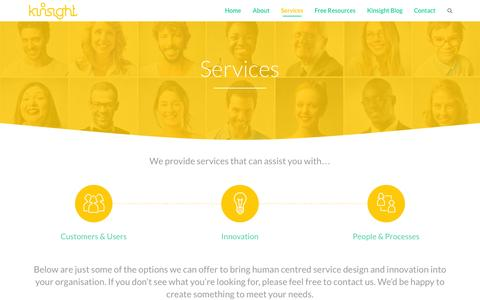 Screenshot of Services Page kinsight.co - Services | kinsight.co - captured Sept. 30, 2014