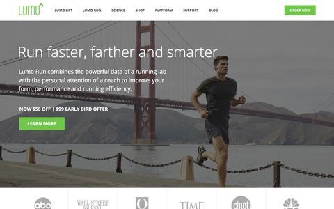 Screenshot of Home Page lumobodytech.com - Lumo Lift Posture Coach & Lumo Run Smart Running Shorts - captured Feb. 20, 2016
