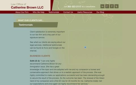 Screenshot of Testimonials Page cbrownlaw.com - Client Testimonials - Denver Immigration Attorney | Law Office of Catherine Brown - captured Oct. 2, 2014