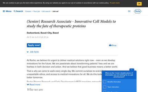 Screenshot of Jobs Page roche.com - Roche - (Senior) Research Associate - Innovative Cell Models to study the fate of therapeutic proteins - captured July 16, 2019