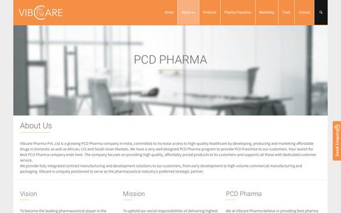 Screenshot of About Page vibcare.co.in - PCD Pharma Price List - PCD Pharma Companies in India | Vibcare Pharma - captured Nov. 29, 2016