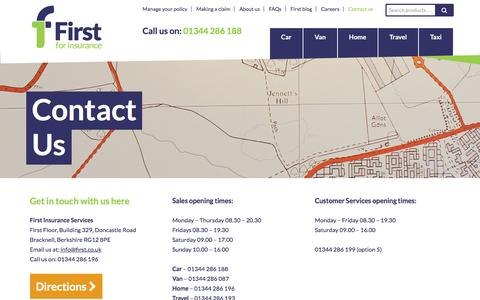 Screenshot of Contact Page first.co.uk - Contact us - First For Insurance - captured March 25, 2016